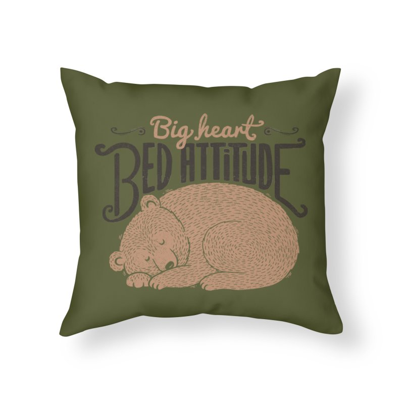 Big Heart Bed Attitude Home Throw Pillow by Tobe Fonseca's Artist Shop