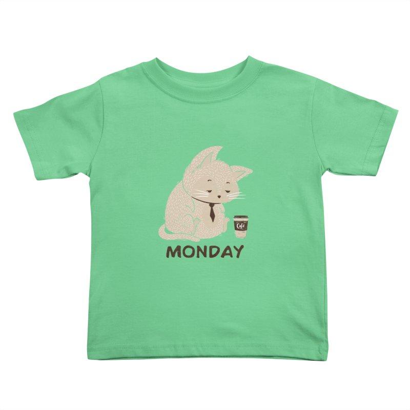 Monday Cat Kids Toddler T-Shirt by Tobe Fonseca's Artist Shop