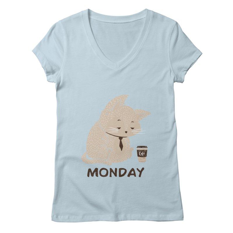 Monday Cat Women's V-Neck by Tobe Fonseca's Artist Shop