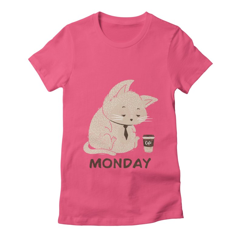 Monday Cat Women's Fitted T-Shirt by Tobe Fonseca's Artist Shop