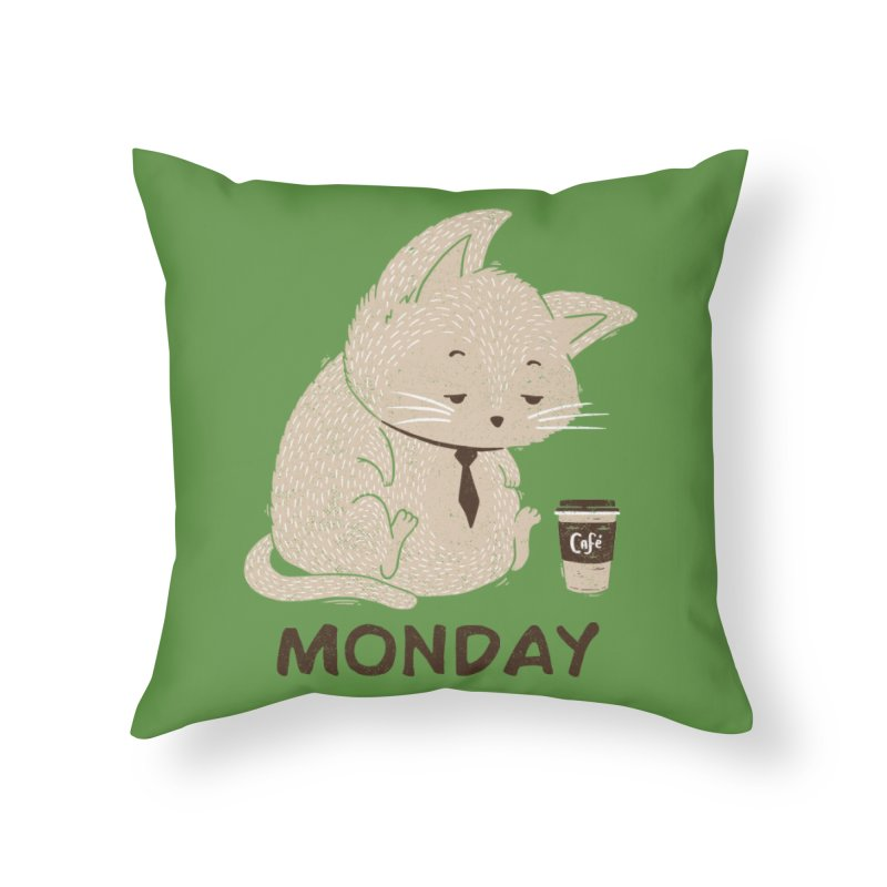 Monday Cat Home Throw Pillow by Tobe Fonseca's Artist Shop