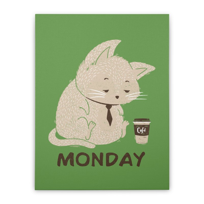 Monday Cat Home Stretched Canvas by Tobe Fonseca's Artist Shop