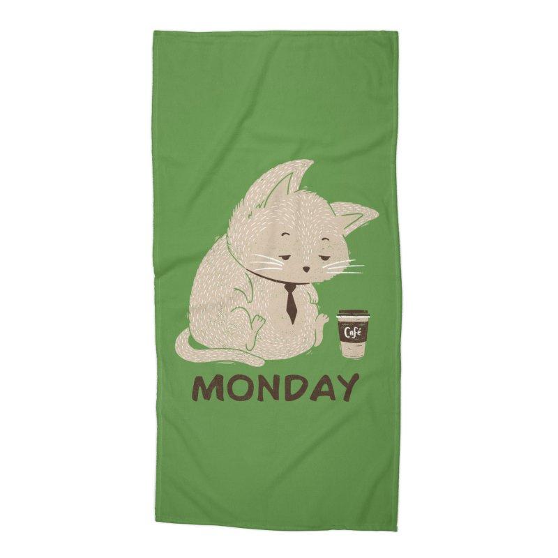 Monday Cat Accessories Beach Towel by Tobe Fonseca's Artist Shop