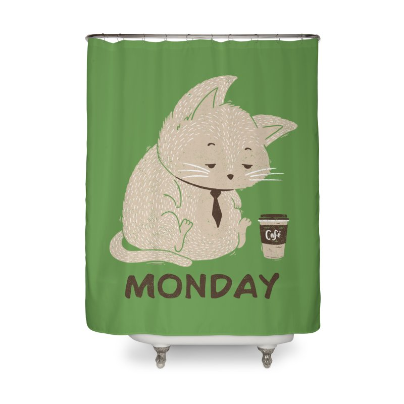 Monday Cat Home Shower Curtain by Tobe Fonseca's Artist Shop