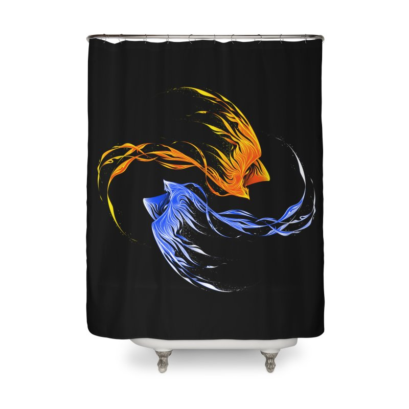 Phoenix Ice And Fire Home Shower Curtain by Tobe Fonseca's Artist Shop