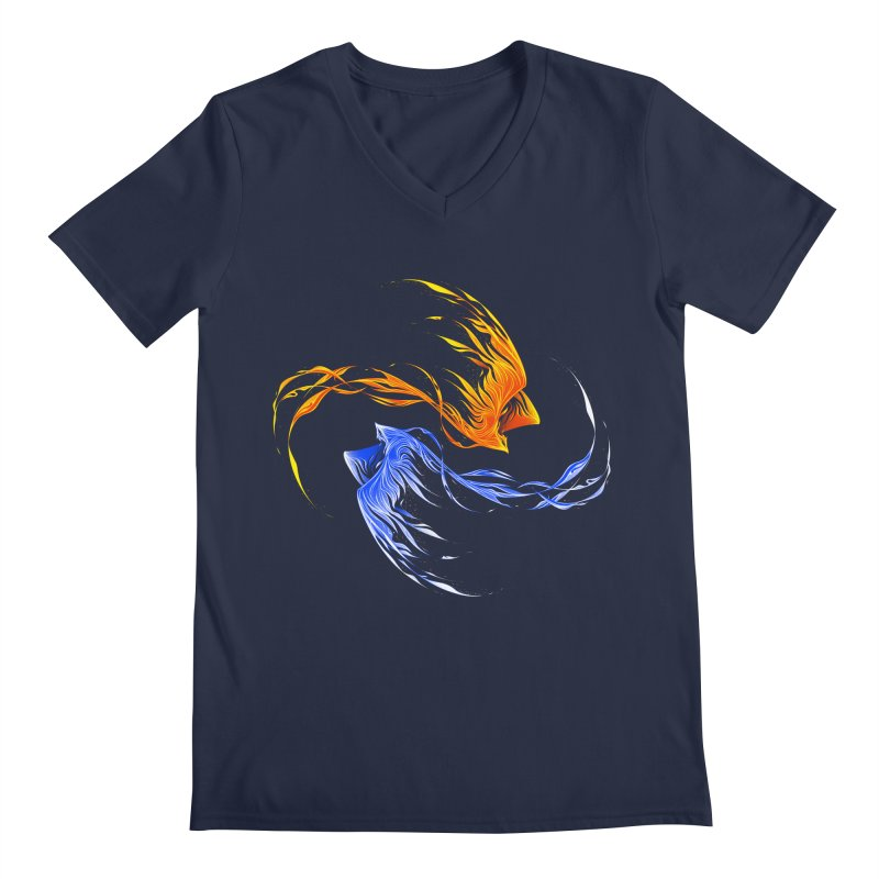 Phoenix Ice And Fire Men's V-Neck by Tobe Fonseca's Artist Shop