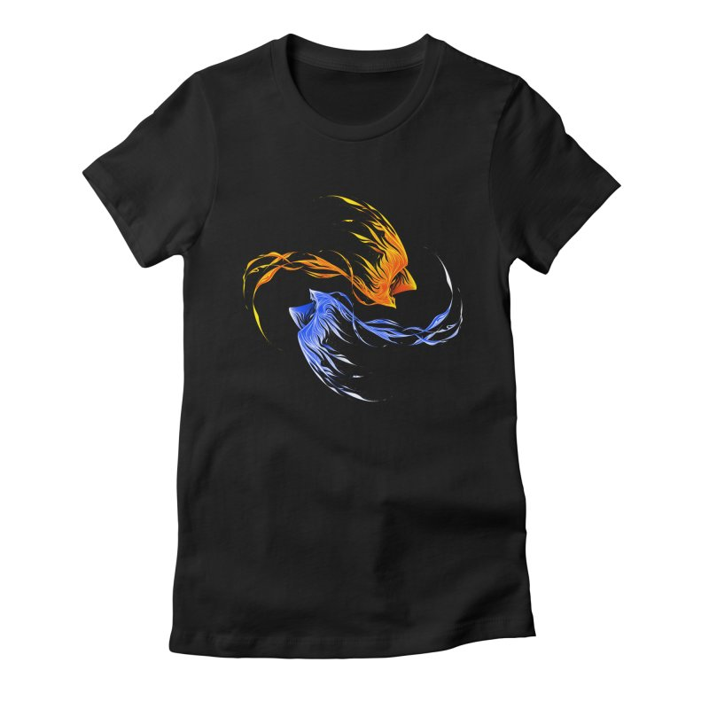 Phoenix Ice And Fire Women's Fitted T-Shirt by Tobe Fonseca's Artist Shop