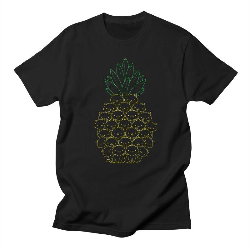 Pineaple Cat in Men's Regular T-Shirt Black by Tobe Fonseca's Artist Shop