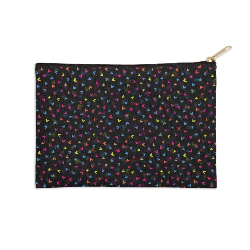 Black Rainbow V Pattern Accessories Zip Pouch by Tobe Fonseca's Artist Shop