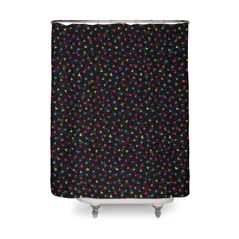 Black Rainbow V Pattern Home Shower Curtain by Tobe Fonseca's Artist Shop