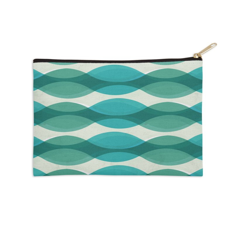 Aquamarine Waves Sea Accessories Zip Pouch by Tobe Fonseca's Artist Shop