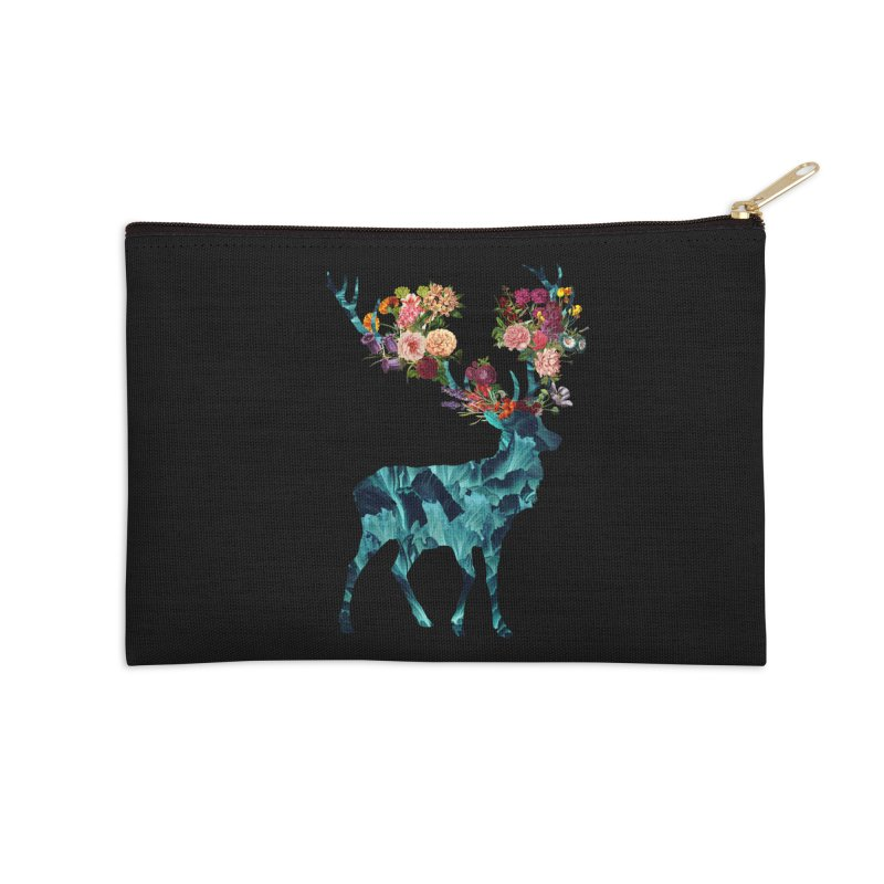 Spring Itself Floral Dark Accessories Zip Pouch by Tobe Fonseca's Artist Shop