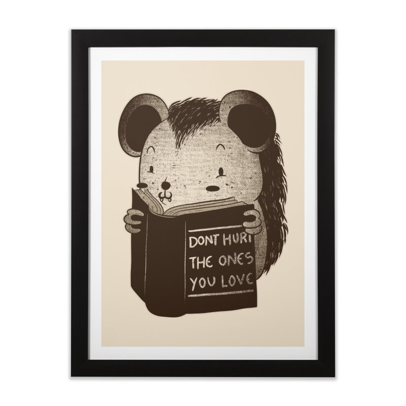 Hedgehog book don't hurt the ones you love Home Framed Fine Art Print by Tobe Fonseca's Artist Shop
