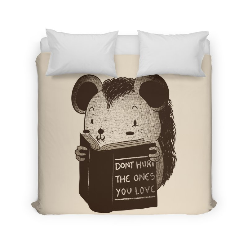 Hedgehog book don't hurt the ones you love Home Duvet by Tobe Fonseca's Artist Shop