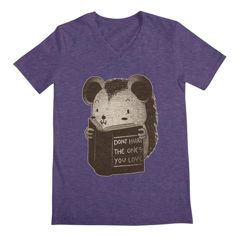Hedgehog book don't hurt the ones you love Men's V-Neck by Tobe Fonseca's Artist Shop
