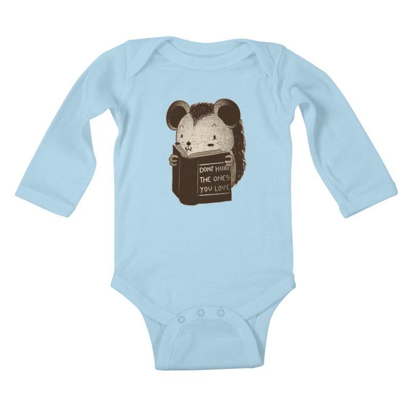 Hedgehog book don't hurt the ones you love Kids Baby Longsleeve Bodysuit by Tobe Fonseca's Artist Shop