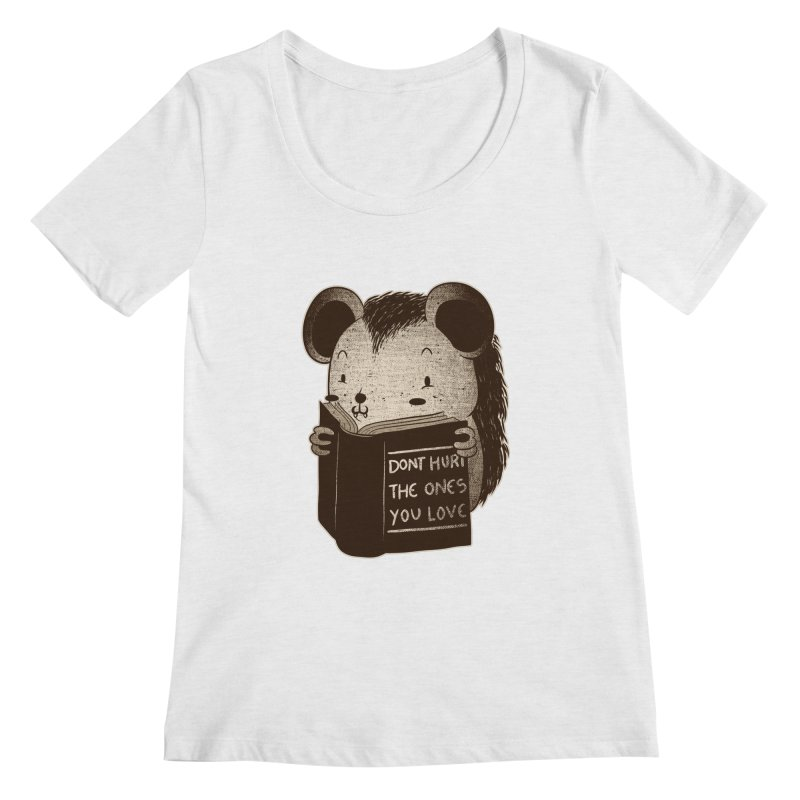 Hedgehog book don't hurt the ones you love Women's Scoopneck by Tobe Fonseca's Artist Shop