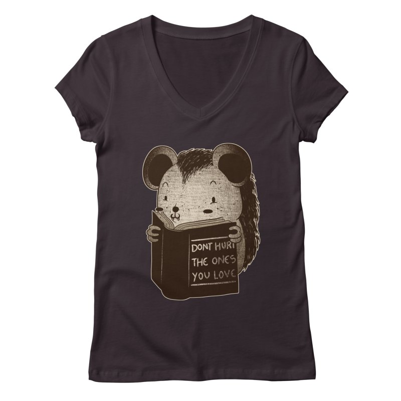 Hedgehog book don't hurt the ones you love Women's V-Neck by Tobe Fonseca's Artist Shop