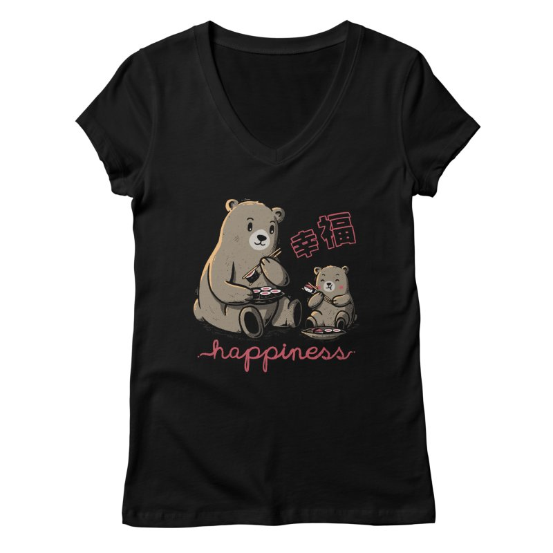 Happiness Sushi Women's V-Neck by Tobe Fonseca's Artist Shop
