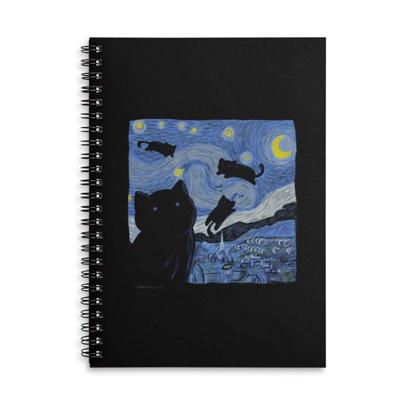Tha Starry Cat Night Accessories Notebook by Tobe Fonseca's Artist Shop