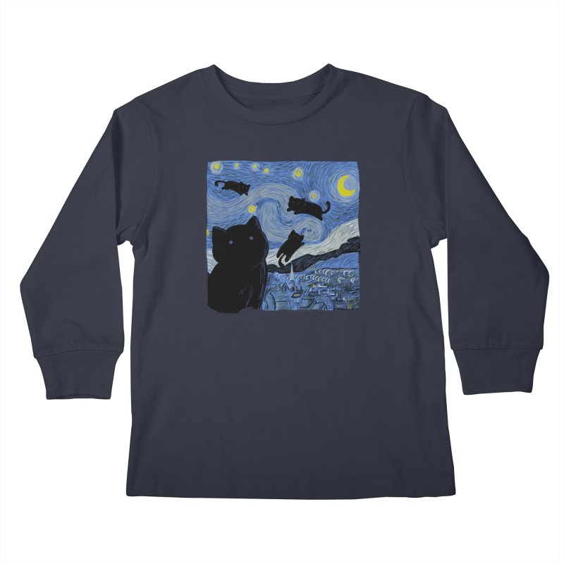 Tha Starry Cat Night Kids Longsleeve T-Shirt by Tobe Fonseca's Artist Shop