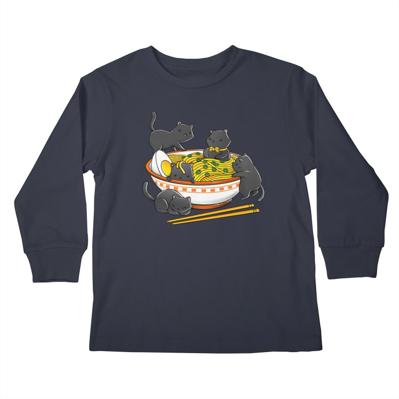 Kawaii Anime Cat Japanese Ramen Noodles Kids Longsleeve T-Shirt by Tobe Fonseca's Artist Shop