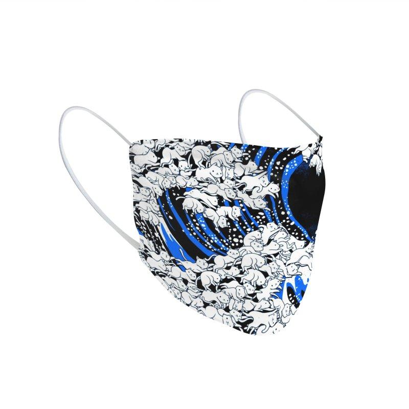 Kanagawa Cat Wave Black Accessories Face Mask by Tobe Fonseca's Artist Shop