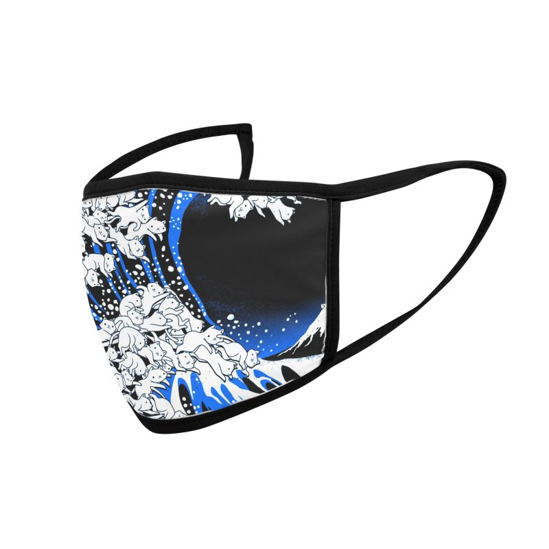 Kanagawa Cat Wave Black Accessories Face Mask by Tobe Fonseca's Artist Shop