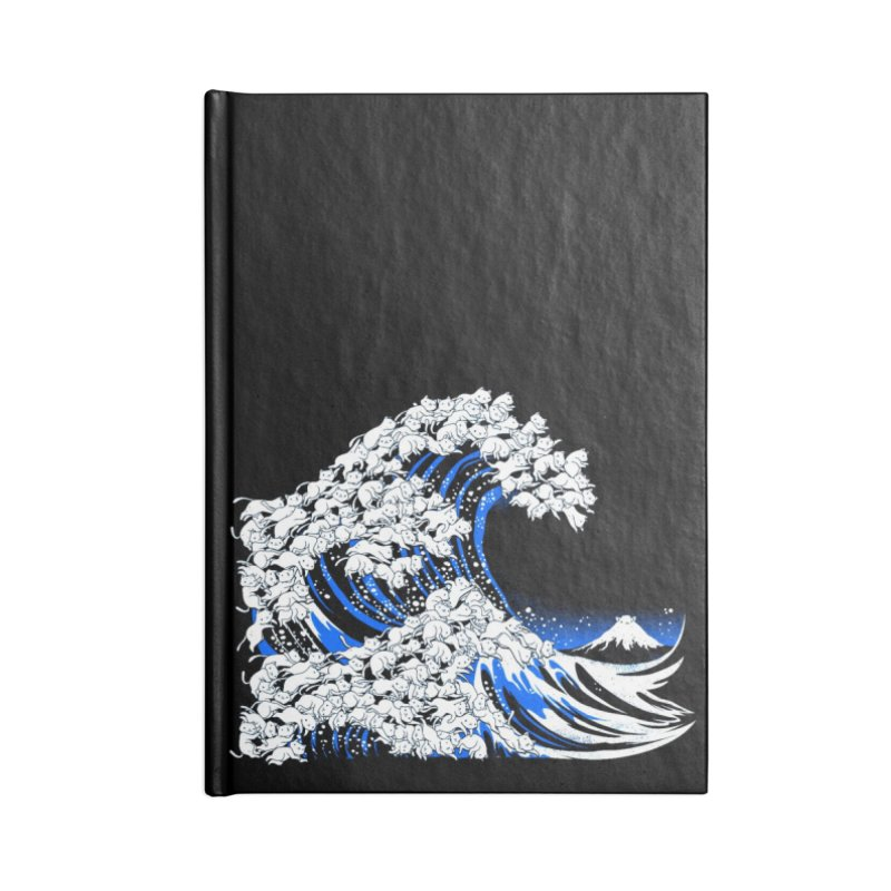 Kanagawa Cat Wave Black Accessories Notebook by Tobe Fonseca's Artist Shop