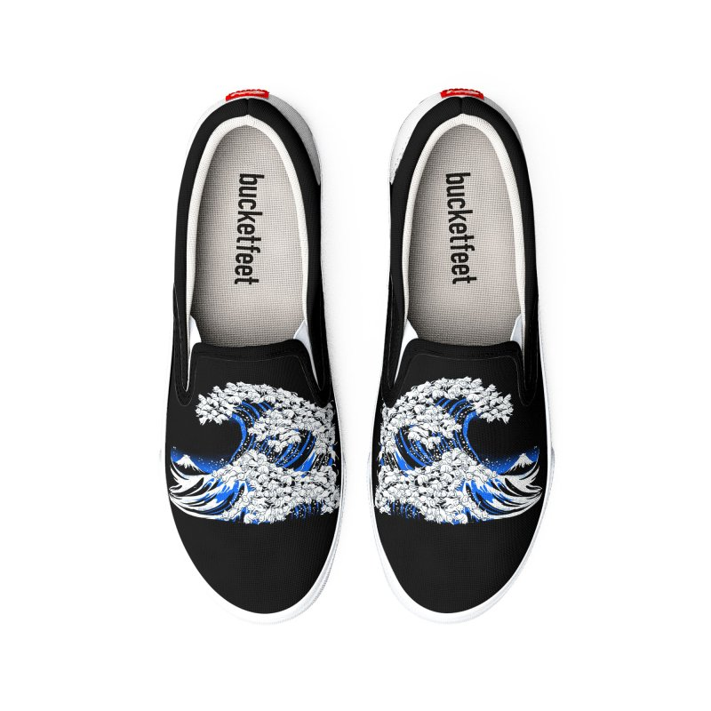 Kanagawa Cat Wave Black Women's Shoes by Tobe Fonseca's Artist Shop