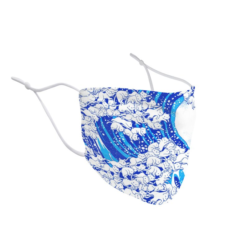 Kanagawa Cat Wave White Accessories Face Mask by Tobe Fonseca's Artist Shop