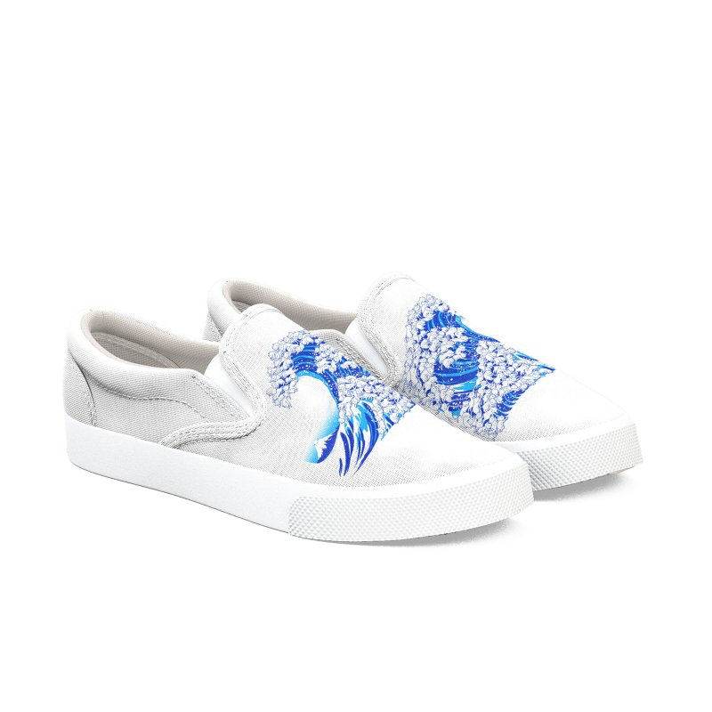Kanagawa Cat Wave White Women's Shoes by Tobe Fonseca's Artist Shop