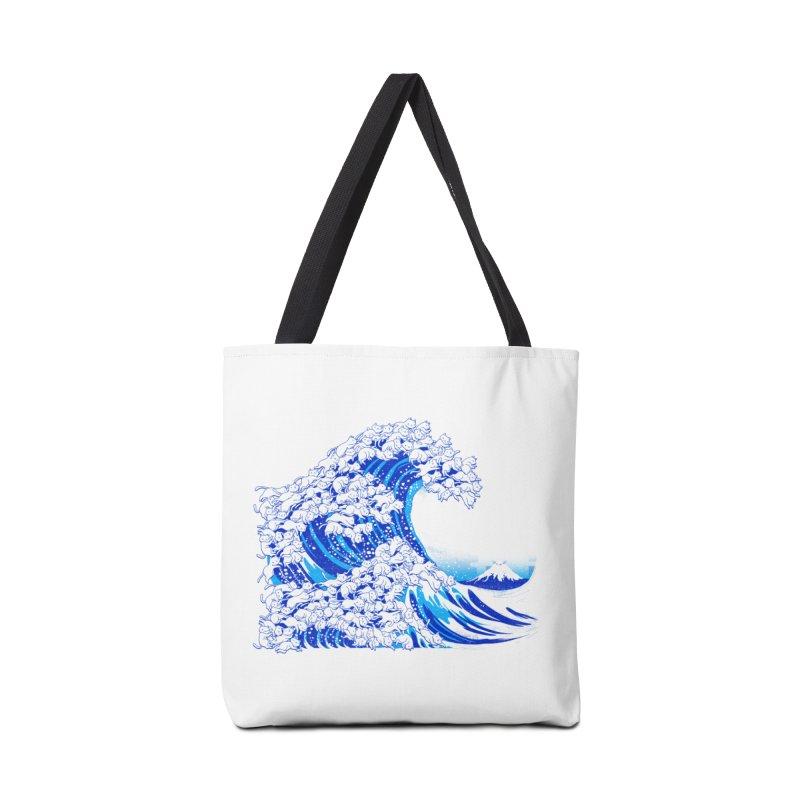 Kanagawa Cat Wave White Accessories Bag by Tobe Fonseca's Artist Shop