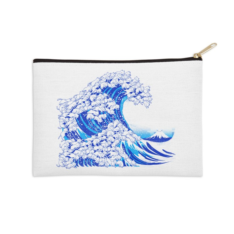 Kanagawa Cat Wave White Accessories Zip Pouch by Tobe Fonseca's Artist Shop
