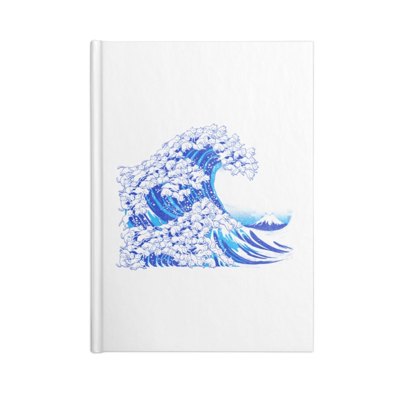 Kanagawa Cat Wave White Accessories Notebook by Tobe Fonseca's Artist Shop