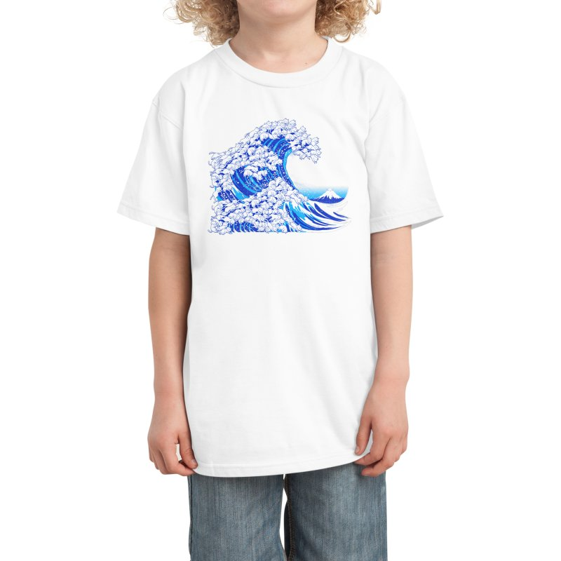 Kanagawa Cat Wave White Kids T-Shirt by Tobe Fonseca's Artist Shop