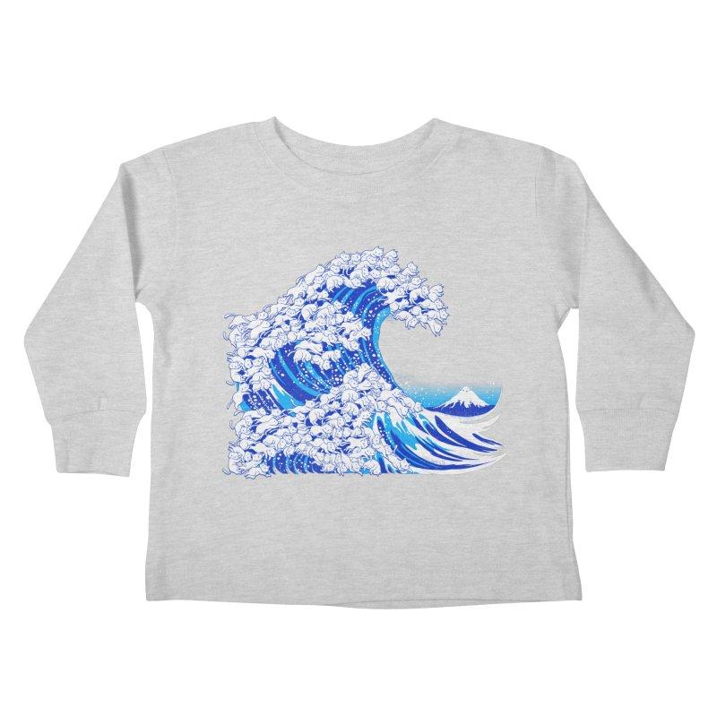 Kanagawa Cat Wave White Kids Toddler Longsleeve T-Shirt by Tobe Fonseca's Artist Shop