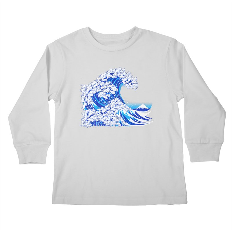 Kanagawa Cat Wave White Kids Longsleeve T-Shirt by Tobe Fonseca's Artist Shop
