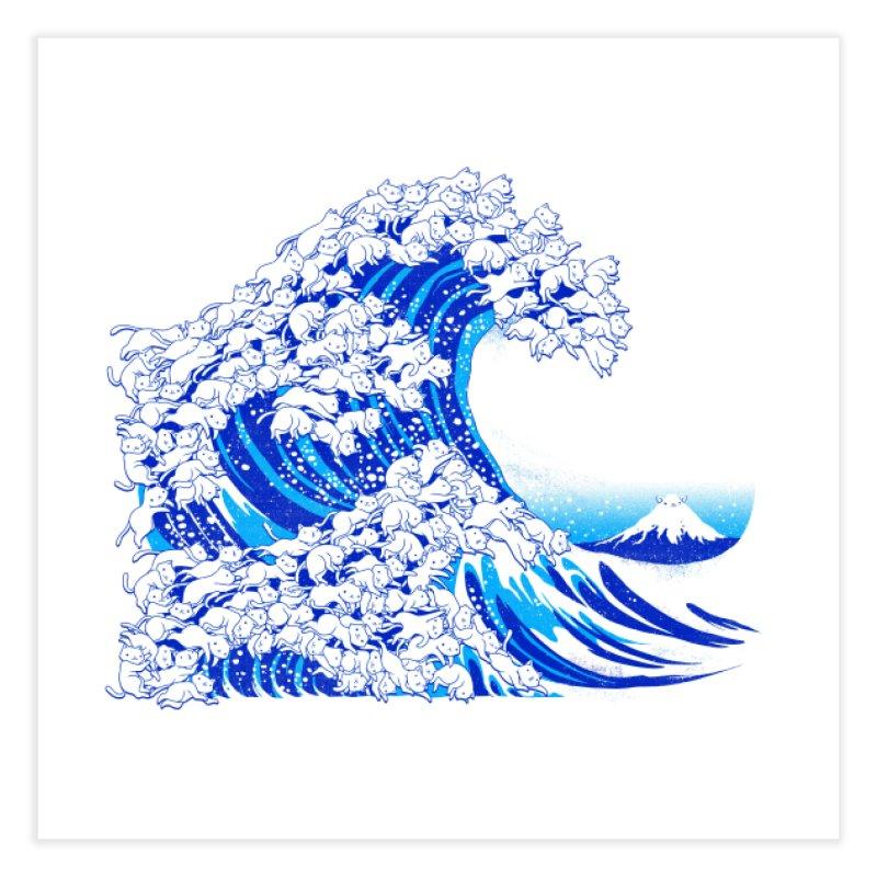Kanagawa Cat Wave White Home Fine Art Print by Tobe Fonseca's Artist Shop