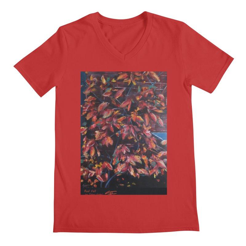 Red Fall Men's V-Neck by Tobey Finkel's Artist Shop