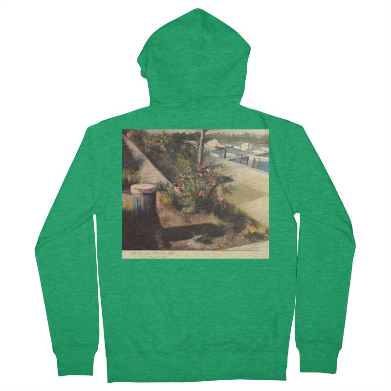 Fall at the Marina Men's Zip-Up Hoody by Tobey Finkel's Artist Shop