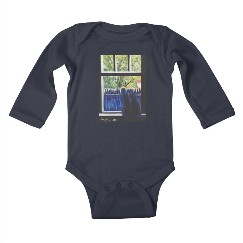 Squirrel!! Kids Baby Longsleeve Bodysuit by Tobey Finkel's Artist Shop