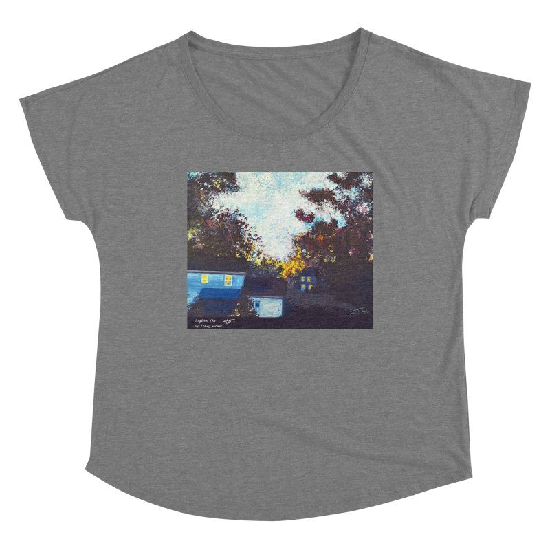 Lights On Women's Scoop Neck by Tobey Finkel's Artist Shop