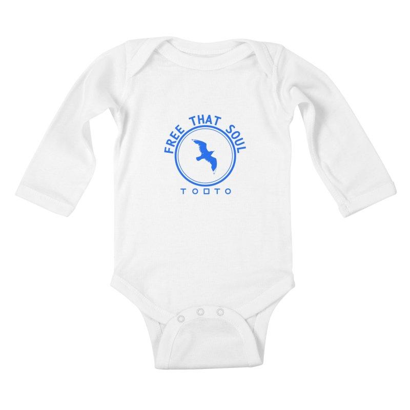 Free That Soul Blue Kids Baby Longsleeve Bodysuit by Tobto Artist Shop