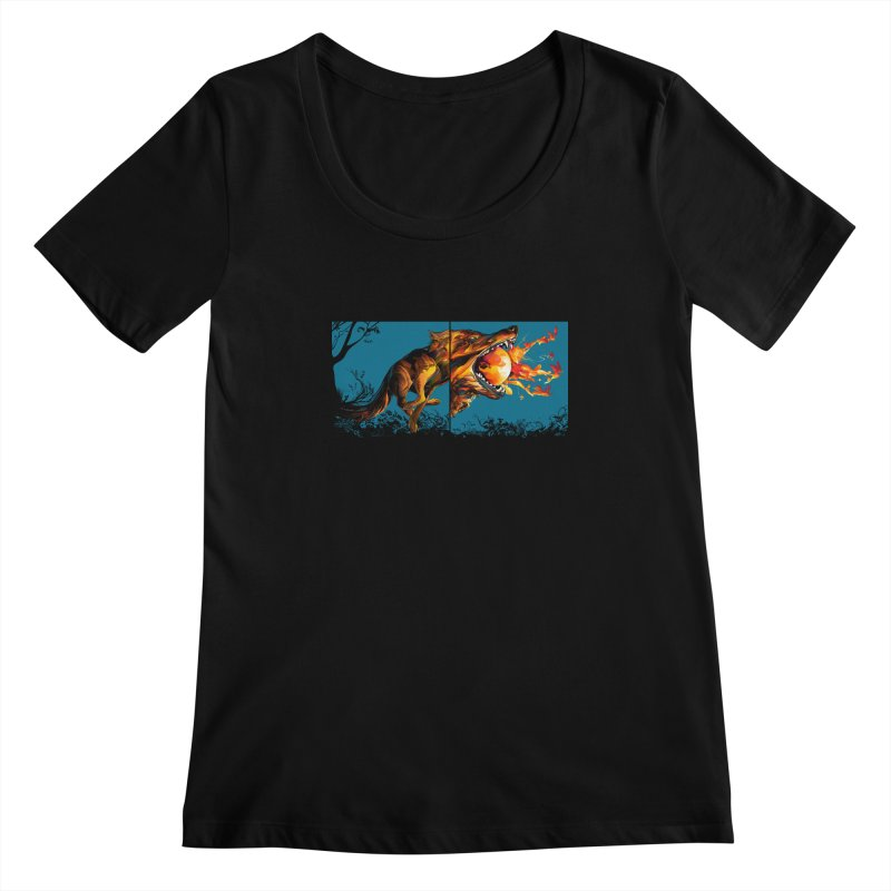 The Wolf Women's Scoopneck by Todd Powelson's Artist Shop