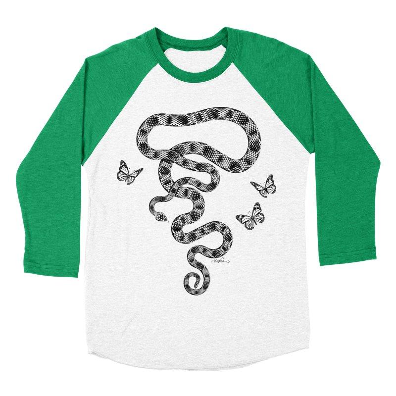 Rattlesnake & Butterflies Women's Baseball Triblend T-Shirt by Todd Powelson's Artist Shop