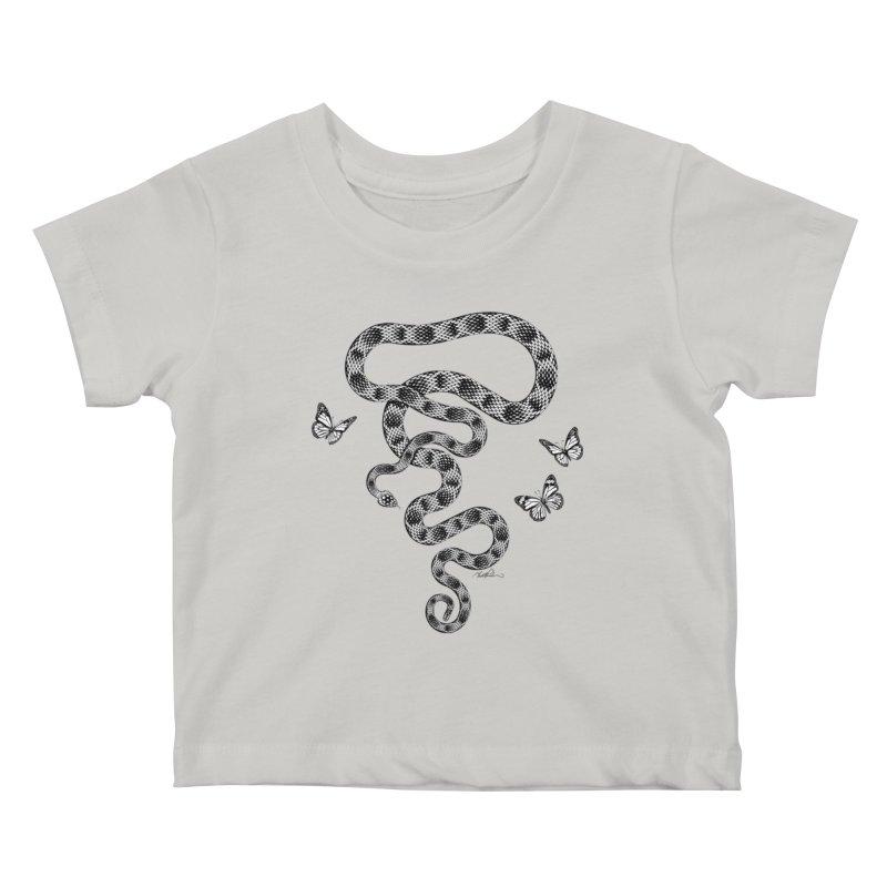 Rattlesnake & Butterflies Kids Baby T-Shirt by Todd Powelson's Artist Shop