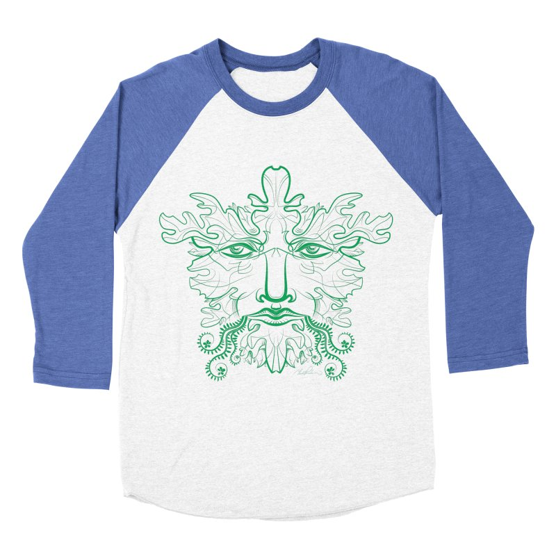 Green Man Men's Baseball Triblend T-Shirt by Todd Powelson's Artist Shop