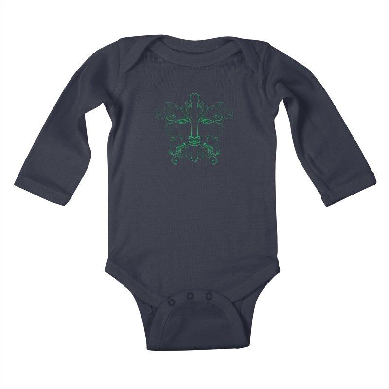 Green Man Kids Baby Longsleeve Bodysuit by Todd Powelson's Artist Shop