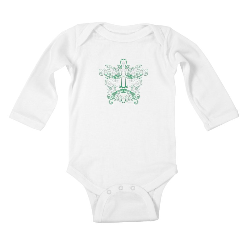 Green Man Kids Baby Longsleeve Bodysuit by Todd Powelson's Artist Shop